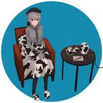 1girl animal_print armchair bangs beret black_gloves black_headwear black_legwear black_ribbon blue_background brown_eyes cellphone chair chihuri collared_shirt cow_print cup dress_shirt eyebrows_visible_through_hair gloves grey_eyes grey_hair grey_shirt hair_between_eyes hair_ribbon hat heterochromia highres long_hair long_sleeves mechanical_pencil mug on_chair original pantyhose pencil phone pillow print_footwear ribbon shirt sitting slippers solo stuffed_animal stuffed_cow stuffed_toy table themed_object two-tone_background white_background