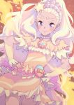 1girl amamiya_erena blonde_hair blush bouzu_(bonze) brooch closed_mouth commentary_request cure_soleil earrings eyebrows hands_on_hips highres jewelry long_hair magical_girl mole mole_under_eye necklace orange_skirt precure skirt smile solo star star_twinkle_precure violet_eyes