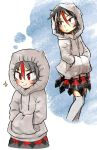 1girl black_hair black_skirt chamaji commentary_request directional_arrow drawstring expressionless eyebrows_visible_through_hair eyes_visible_through_hair grey_hoodie grey_legwear hair_between_eyes hands_in_pockets highres hood hood_up hoodie horns imagining kijin_seija minigirl multicolored multicolored_clothes multicolored_hair multicolored_skirt red_eyes red_skirt redhead short_hair skirt smile solo sparkle streaked_hair thigh-highs touhou white_hair zettai_ryouiki