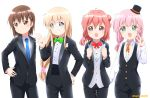 4girls akaza_akari alternate_costume alternate_hairstyle blonde_hair blue_eyes blush bow bowtie brown_eyes brown_hair closed_mouth eyebrows_visible_through_hair flower formal funami_yui grin hair_flower hair_ornament hairclip hand_on_hip hat looking_at_viewer monochrome_background multiple_girls neckerchief necktie open_mouth parted_lips pink_hair redhead ren_kon simple_background smile suit toshinou_kyouko v violet_eyes white_background yoshikawa_chinatsu yuru_yuri