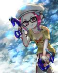 1girl absurdres backwards_hat black-framed_eyewear black_shorts clouds cloudy_sky collarbone dapple_dualies_(splatoon) dual_wielding glasses gothloli_dokuro grin hand_up hat highres holding long_hair octarian octoling peaked_cap pink_eyes pink_hair shirt short_sleeves shorts sky smile solo splatoon splatoon_(series) splatoon_2 suction_cups t-shirt teeth tentacle_hair white_headwear yellow_shirt