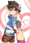1boy 1girl brown_eyes brown_hair closed_mouth commentary_request digimon digimon_adventure gloves highres looking_at_viewer short_hair yagami_hikari yagami_taichi yorukun