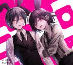2boys ahoge animal_ears arm_grab artist_name black_legwear black_nails black_neckwear commentary_request danganronpa eyebrows_visible_through_hair grey_shirt hair_between_eyes male_focus medium_hair multiple_boys nail_polish necktie new_danganronpa_v3 ouma_kokichi rabbit_ears saihara_shuuichi shirt shrit suspenders sweater_vest tongue tongue_out upper_body violet_eyes white_shirt yellow_eyes z-epto_(chat-noir86)