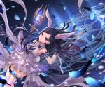 1girl animal_ears arm_up armpits black_feathers black_gloves black_hair bunny_tail crystal detached_sleeves dress elin_(tera) feathers garters gloves glowing highres ji-hyun_ro long_hair magic_circle official_art rabbit_ears see-through see-through_sleeves short_dress solo staff tail tera_online violet_eyes weapon white_dress wind wind_lift