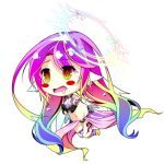 1girl angel_wings blush_stickers breasts chibi crop_top drooling feathered_wings gloves gradient_eyes gradient_hair halo highres jibril_(no_game_no_life) large_breasts long_hair low_wings magic_circle midriff mimi0846 mismatched_legwear multicolored multicolored_eyes multicolored_hair navel no_game_no_life orange_eyes pink_hair solo tattoo very_long_hair white_wings wing_ears wings yellow_eyes