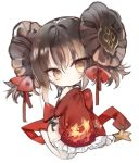 1girl bangs bare_shoulders bow brown_eyes brown_hair chibi china_dress chinese_clothes closed_mouth commentary_request detached_sleeves double_bun dress eyebrows_visible_through_hair frilled_sleeves frills full_body girls_frontline hair_between_eyes hair_bow head_tilt kotatu_(akaki01aoki00) long_sleeves pelvic_curtain qbz-97_(girls_frontline) red_bow red_dress red_sleeves seiza side_bun simple_background sitting sleeveless sleeveless_dress sleeves_past_fingers sleeves_past_wrists smile solo star thigh-highs white_background white_legwear