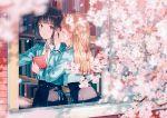 2girls bangs black_hair black_skirt blazer blonde_hair blue_jacket blue_ribbon book bookshelf braid butterfly_hair_ornament cherry_blossoms closed_eyes hair_ornament hand_on_own_cheek hiten_(hitenkei) holding holding_book indoors jacket library long_hair looking_at_another medium_hair multiple_girls necktie open_hand open_mouth open_window orange_neckwear original red_eyes ribbon school_uniform shirt skirt twin_braids whispering white_shirt window
