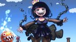 black_dress black_footwear black_hair black_legwear blue_sky bob_cut breasts broken broken_chain chain chain_chomp chains clouds dress f.l.u.d.d. heart heart_eyes highres mario mario_(series) murasaki_no_ryuuki nintendo princess_chain_chomp sharp_teeth sky super_crown super_mario_sunshine teeth