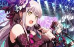 2girls absurdres ashiwara_yuu bang_dream! bangs black_bow blue_bow blue_flower blue_rose bow breasts brown_eyes brown_flower brown_rose brown_shirt brown_sleeves closed_mouth commentary_request detached_sleeves earrings electric_guitar eyebrows_visible_through_hair fingernails flower glint glowstick green_eyes grey_hair guitar hair_between_eyes hair_flower hair_ornament highres hikawa_sayo holding holding_instrument holding_microphone huge_filesize instrument jewelry long_hair long_sleeves looking_away microphone minato_yukina multiple_girls music open_mouth playing_instrument puffy_short_sleeves puffy_sleeves rose roselia_(bang_dream!) round_teeth shirt short_sleeves sleeveless sleeveless_shirt sleeves_past_wrists small_breasts stage stage_lights striped striped_bow teeth upper_body upper_teeth v-shaped_eyebrows