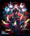 1girl armor armored_dress bangs black_dress blush braid breasts character_name cloak dress eyebrows_visible_through_hair fire flame floating_hair floating_headgear flower full_body gauntlets girls_frontline glowing greaves grin hair_between_eyes hair_ornament heiwari_kanade hexagram highres holding_case light_particles long_hair looking_at_viewer medium_breasts negev_(girls_frontline) official_art pink_hair red_cloak red_eyes red_flower red_rose rose shoulder_cutout side_braid smile solo star_of_david thorns weapon_case