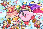6+others ;d anniversary birthday_cake blue_background cake channel_ppp confetti copy_ability festival_bird food hal_laboratory_inc. hoshi_no_kirby kirby kirby_(series) nintendo no_humans notepad official_art one_eye_closed open_mouth outline party_popper pink_puff_ball plate smile streamers waddle_dee white_outline