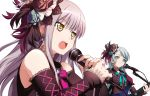 2girls ashiwara_yuu bang_dream! bangs black_bow blue_bow blue_flower blue_rose bow breasts brown_eyes brown_flower brown_rose brown_shirt brown_sleeves closed_mouth detached_sleeves earrings electric_guitar eyebrows_visible_through_hair fingernails flower glint green_eyes grey_hair guitar hair_between_eyes hair_flower hair_ornament highres hikawa_sayo holding holding_instrument holding_microphone instrument jewelry long_hair long_sleeves looking_away microphone minato_yukina multiple_girls music open_mouth playing_instrument puffy_short_sleeves puffy_sleeves rose roselia_(bang_dream!) round_teeth shirt short_sleeves simple_background sleeveless sleeveless_shirt sleeves_past_wrists small_breasts striped striped_bow teeth upper_body upper_teeth v-shaped_eyebrows white_background