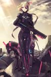 1girl blonde_hair bodysuit breastplate building clouds cloudy_sky cyborg day expressionless full_body fuu_kotora gloves gun headphones holding holding_gun holding_weapon legs_together light_rays looking_at_viewer mecha mecha_musume mechanical_eye mechanical_horse neon_trim original outdoors parted_lips pink_eyes rifle robot rubble ruins science_fiction shiny shiny_clothes short_hair skin_tight sky standing star_(sky) starry_sky sunbeam sunlight thigh_gap weapon