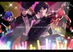 3boys amamiya_ren black_hair blue_hair cane glasses gloves glowstick grey_eyes grey_hair hat letterboxed looking_at_viewer male_focus multiple_boys narukami_yuu outstretched_arm parted_lips persona persona_3 persona_4 persona_5 persona_super_live red_gloves sparkle top_hat tuxedo yuuki_makoto