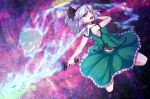 1girl absurdres adapted_costume arm_strap aura bangs bare_arms bare_shoulders black_hairband black_ribbon breasts commentary_request dual_wielding green_eyes green_skirt green_vest hair_ribbon hairband highres hitodama holding holding_sword holding_weapon katana konpaku_youmu konpaku_youmu_(ghost) looking_at_viewer midriff_peek open_mouth petticoat ribbon sarashi short_hair silver_hair skirt skirt_set small_breasts solo sword touhou vest weapon zeramu