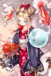 1girl abigail_williams_(fate/grand_order) alternate_hairstyle animal black_bow blue_eyes blush bow brown_hair bubble candy_apple commentary_request cotton_candy double_bun eating fate/grand_order fate_(series) fish floral_print food goldfish hair_bow hair_up highres hmw_(pixiv7054584) holding holding_food japanese_clothes kimono long_hair long_sleeves looking_at_viewer obi orange_bow polka_dot polka_dot_bow print_kimono red_bow red_kimono sash sidelocks sleeves_past_fingers sleeves_past_wrists solo standing yukata