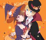 1boy 1girl bandai blonde_hair blue_eyes breasts brown_hair cleavage closed_mouth digimon digimon_adventure_tri. fang hair_ornament hairclip halloween hat looking_at_viewer maydream nail_polish namco open_mouth patamon pumpkin shogakukan short_hair smile tailmon takaishi_takeru toei_animation witch_hat yagami_hikari