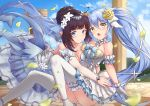 2girls :o absurdres ahoge arm_garter ass bangs bare_shoulders blue_dress blue_eyes blue_hair blue_ribbon blue_sky blush breast_press breasts brown_hair choker cleavage closed_mouth clouds collarbone commentary_request day detached_sleeves dress elf floating_hair flower frilled_choker frills gloves hair_between_eyes hair_bun hair_flower hair_ornament heart_ahoge highres hug huge_filesize king's_raid knees_up large_breasts layered_dress long_hair long_sleeves looking_at_viewer mirianne_(king's_raid) multiple_girls open_mouth outdoors petals pnt_(ddnu4555) pointy_ears revision ribbon rose sidelocks sitting sky smile sonia_(king's_raid) symmetrical_docking thigh-highs twintails very_long_hair white_dress white_flower white_gloves white_legwear yellow_eyes yellow_flower