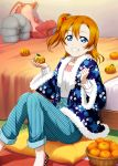 1girl bed blue_eyes blue_pants brown_hair food fruit fur_trim grin hair_between_eyes highres holding indoors ink_(pixiv25450915) kousaka_honoka looking_at_viewer love_live! love_live!_school_idol_festival love_live!_school_idol_project mandarin_orange pants pumps side_ponytail sitting smile solo striped sweater vertical-striped_pants vertical_stripes white_sweater