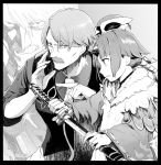 1boy 1girl apron benienma_(fate/grand_order) cocktail_shaker death_note facial_hair fate/grand_order fate_(series) greyscale hair_between_eyes hat holding horn james_moriarty_(fate/grand_order) katana long_hair monochrome mustache necktie parody pointing ponytail sheath smile sword syatey unsheathing vest weapon yagami_light