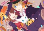 1boy 1girl blonde_hair blue_eyes brown_hair commentary_request digimon digimon_adventure digimon_adventure_tri. hair_ornament hairclip halloween hat looking_at_viewer maydream open_mouth patamon pumpkin short_hair smile tailmon takaishi_takeru witch_hat yagami_hikari