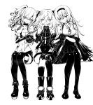 3girls boots closed_eyes commentary_request girl_sandwich girls_frontline gitoshinp hand_holding headband highres korean_commentary m950a_(girls_frontline) monochrome multiple_girls pa-15_(girls_frontline) pantyhose sandwiched smile thunder_(girls_frontline) twintails