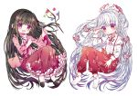2girls :d ankle_boots armband arms_up bangs black_footwear black_hair blouse blunt_bangs blush boots branch breasts chibi commentary_request eyebrows_visible_through_hair frilled_skirt frilled_sleeves frills fujiwara_no_mokou hair_ribbon high_heels hime_cut houraisan_kaguya jeweled_branch_of_hourai long_hair long_sleeves looking_at_viewer multiple_girls ofuda open_mouth pants pink_blouse red_eyes red_skirt ribbon rimei sidelocks simple_background sitting skirt sleeve_cuffs small_breasts smile suspenders touhou very_long_hair white_background white_footwear white_hair