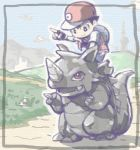 backpack bag creatures_(company) dirt_road fingerless_gloves game_freak gen_1_pokemon gloves grass hill mountain murasaki_no_ryuuki nintendo pointing poke_ball pokemon red_(pokemon) red_eyes red_headwear rhydon riding