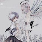 2girls amiyakinyu android angel_wings bangs blue_hair cat grey_background halo highres holding index_finger_raised medium_hair multiple_girls open_mouth original pink_hair profile robot short_hair short_sleeves wings wrench