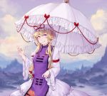 1girl alternate_hairstyle aoshi-shi armband artist_name blonde_hair blush bow breasts clouds cloudy_sky dated dress fingernails flame_print fog forest frilled_umbrella grin hair_between_eyes hair_bow hair_up hand_up hat hat_ribbon head_tilt highres holding holding_umbrella lake long_sleeves looking_at_viewer medium_breasts mob_cap mountainous_horizon nail_polish nature puffy_long_sleeves puffy_sleeves purple_nails purple_sky reflective_eyes ribbon ribbon_trim shiny shiny_hair short_hair short_hair_with_long_locks sidelocks sky smile solo standing tabard touhou twilight umbrella violet_eyes white_dress white_headwear white_umbrella wide_sleeves yakumo_yukari