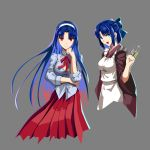 2girls apron axia-chan blue_eyes blue_hair blue_ribbon breasts chin_rest ciel cleavage cosplay cropped_legs dress_shirt grey_background hair_ribbon japanese_clothes kimono kohaku kohaku_(cosplay) large_breasts long_hair looking_at_viewer maid_apron medium_breasts multicolored_hair multiple_girls partially_unbuttoned pink_hair red_eyes red_skirt ribbon shirt skirt sleeves_rolled_up smile smirk syringe tohno_akiha toono_akiha_(cosplay) tsukihime type-moon wide_sleeves