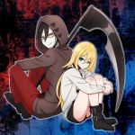 1boy 1girl back-to-back black_footwear black_hair black_shorts blonde_hair blood bloody_clothes blue_eyes boots brown_sweater dark_skin eyebrows_visible_through_hair grin hair_between_eyes highres holding holding_scythe hood hood_up hooded_sweater isaac_foster jacket leg_hug long_hair long_sleeves looking_at_viewer open_clothes open_jacket pants piatin rachel_gardner red_pants satsuriku_no_tenshi scythe short_hair short_shorts shorts smile sweater white_jacket yellow_eyes