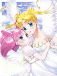 2girls alternate_eye_color back_bow bangs bare_shoulders bishoujo_senshi_sailor_moon blonde_hair blue_eyes bow breasts chibi_usa cleavage collarbone crescent double_bun dress facial_mark feathered_wings forehead_mark hair_ornament hairpin hand_holding highres hitsuji_kumo long_hair looking_at_viewer mother_and_daughter multiple_girls parted_bangs pink_hair princess_serenity short_hair small_lady_serenity smile strapless strapless_dress tsukino_usagi twintails upper_body white_bow white_dress white_wings wings