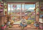 1boy 2019 artist_name barefoot black_hair blue_sky cat closed_mouth clouds day denim green_footwear indoors jeans kitsu+3 looking_away mountain original pants paper_airplane plant potted_plant railing scenery short_hair sitting sky smile socks solo yarn yarn_ball
