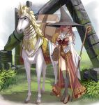 1girl armored_animal bag blonde_hair boots breasts detached_sleeves facial_mark frills hat highres holding holding_staff large_breasts legs_crossed long_hair looking_at_viewer masao original outdoors pelvic_curtain red_eyes ruins smile solo staff standing thigh-highs thigh_boots unicorn wide_sleeves witch witch_hat