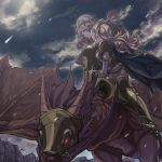 2girls armor between_breasts black_armor black_hairband blue_cape breasts camilla_(fire_emblem_if) cape clouds dragon female_my_unit_(fire_emblem_if) fire_emblem fire_emblem_if hair_over_one_eye hairband high_heels long_hair mooncanopy multiple_girls my_unit_(fire_emblem_if) night night_sky nintendo parted_lips purple_hair riding sky star_(sky) white_hair wyvern