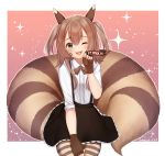 1girl :3 ;d artist_name black_skirt blush brown_hair collared_shirt commission cowboy_shot creatures_(company) fingerless_gloves furret game_freak gen_2_pokemon gloves green_eyes hair_between_eyes hair_ornament large_tail looking_at_viewer medium_hair nintendo one_eye_closed open_mouth paw_pose personification pokemon shirt sidelocks skirt sleeves_rolled_up smile solo standing striped striped_legwear temachii two_side_up whisker_markings white_shirt