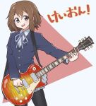 1girl absurdres blue_jacket blue_neckwear blue_ribbon blush brown_eyes brown_hair commentary_request eyebrows_visible_through_hair grey_skirt guitar hair_between_eyes hair_ornament hairclip highres hirasawa_yui holding instrument jacket jipponwazaari k-on! long_sleeves looking_at_viewer pantyhose red_background ribbon school_uniform short_hair simple_background skirt solo translation_request two-tone_background upper_teeth white_background