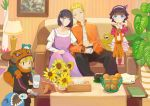 absurdres alarm_clock bags_under_eyes bandage bandaged_arm bandages blonde_hair boruto:_naruto_next_generations clock controller couch family father_and_daughter father_and_son finger_to_mouth flower hand_holding highres husband_and_wife hyuuga_hinata kurama_(naruto) lamp looking_at_viewer mother_and_daughter mother_and_son naruto_(series) open_clothes open_shirt pajamas picture_frame plant purple_hair remote_control shi_(user_ptm0299) short_hair shushing sleeping spiky_hair sunflower table uzumaki_boruto uzumaki_himawari uzumaki_naruto whisker_markings