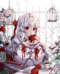 1girl apple birdcage bow cage cup eyebrows_visible_through_hair food frills fruit grey_hair hair_bow holding holding_food holding_fruit long_hair long_sleeves looking_at_viewer original parted_lips pillo plate red_bow red_eyes sitting solo table tea teacup wavy_hair wheelchair