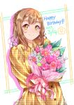 1girl alternate_hairstyle bangs bouquet brown_hair collared_dress dated dress drop_shadow flower half_updo happy_birthday highres holding holding_bouquet kanabun kunikida_hanamaru long_hair long_sleeves looking_at_viewer love_live! love_live!_sunshine!! pink_flower pink_ribbon pink_rose plaid plaid_dress ribbon rose smile solo thick_eyebrows yellow_dress yellow_eyes