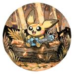 :3 autumn baby_pokemon black_eyes blush_stickers commentary creature creatures_(company) english_commentary full_body game_freak gen_2_pokemon grass instrument leaf nintendo no_humans oliver_hamlin open_mouth outdoors pichu plant pokemon pokemon_(creature) sitting sitting_on_log smile traditional_media ukulele watercolor_(medium)