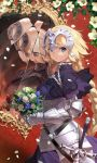 1girl armor blonde_hair blue_eyes bouquet braid closed_mouth cracked eyebrows_visible_through_hair fate/apocrypha fate_(series) faulds flower gauntlets headpiece highres jeanne_d'arc_(alter)_(fate) jeanne_d'arc_(fate) jeanne_d'arc_(fate)_(all) long_hair looking_at_viewer mirror patterned_background petals red_background reflection scabbard shattered sheath signature single_braid solo standing sword weapon withered yang-do