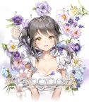 1girl :d anmi bangs black_hair blue_flower breasts brown_eyes cleavage collarbone cropped_torso dress eyebrows_visible_through_hair flower highres leaf long_hair medium_breasts open_mouth original pink_flower puplre_flower side_ponytail sidelocks smile solo upper_body white_dress white_flower yellow_flower