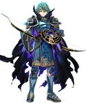 1boy alm_(fire_emblem) alternate_costume arai_teruko armor armored_boots boots bow_(weapon) cape fingerless_gloves fire_emblem fire_emblem_echoes:_mou_hitori_no_eiyuuou fire_emblem_heroes full_body gloves green_eyes green_hair hair_ornament highres male_focus nintendo official_art solo torn_clothes transparent_background weapon