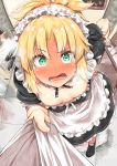 1girl ahoge apron bangs black_footwear blonde_hair blush body_mahattaya_ginga braid breasts commentary_request detached_collar dress eyebrows_visible_through_hair fate_(series) green_eyes hair_intakes hand_on_hip highres indoors long_hair looking_at_viewer maid mordred_(fate)_(all) open_mouth ponytail pov puffy_short_sleeves puffy_sleeves scrunchie shirt_grab short_sleeves small_breasts steam sweat