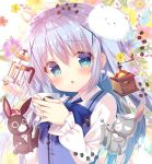 1girl :o angora_rabbit animal anko_(gochiusa) bangs blue_dress blue_eyes blue_hair blue_neckwear blush bow bowtie coffee_beans coffee_grinder coffee_press collared_shirt commentary_request crown cup dress floral_background frilled_sleeves frills gochuumon_wa_usagi_desu_ka? hair_ornament holding holding_cup kafuu_chino long_hair long_sleeves looking_at_viewer mitsumomo_mamu mug pinafore_dress rabbit shirt solo spoon tippy_(gochiusa) upper_body wild_geese x_hair_ornament