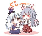 2girls :d alternate_eye_color bangs black_footwear blue_dress blue_hair blue_headwear blush boots bow breasts brown_eyes brown_footwear cheek_pull chibi commentary_request dress eyebrows_visible_through_hair fujiwara_no_mokou full_body hair_bow hat hat_ribbon highres jitome juliet_sleeves kamishirasawa_keine kurotaro long_hair long_sleeves looking_at_another medium_breasts multicolored_hair multiple_girls neck_ribbon ofuda open_mouth pants parted_lips pinafore_dress puffy_short_sleeves puffy_sleeves red_eyes red_neckwear red_pants red_ribbon ribbon seiza shirt shoes short_sleeves silver_hair simple_background sitting smile standing streaked_hair suspenders touhou translation_request v-shaped_eyebrows very_long_hair white_background white_bow white_shirt