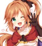 1girl ;d bangs black_gloves black_ribbon blush brown_hair capelet clarisse_(granblue_fantasy) drop_shadow elbow_gloves gloves granblue_fantasy green_eyes hair_intakes hair_ribbon hand_up heart long_hair looking_at_viewer nameneko_(124) one_eye_closed open_mouth orange_hair red_capelet ribbed_sweater ribbon side_ponytail sidelocks smile solo sweater upper_body white_background white_sweater