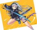 1girl blue_eyes gia hairband holding holding_sword holding_weapon katana long_hair original pleated_skirt scabbard science_fiction sheath silver_hair simple_background skirt solo sword weapon